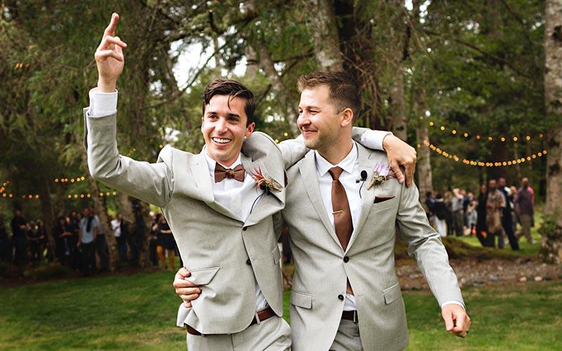 Wedding portrait of two grooms